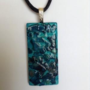 Eggshell mosaic pendant / blue pendant / statement necklace  / glass tile pendant / blue hand painted pendant /necklace