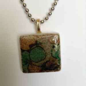 "Green and brown pendant / 1"" square tile pendant / alcohol ink tile pendant"