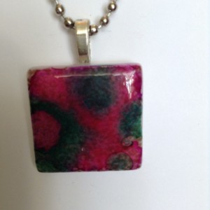 Pink and green pendant. Green and pink alcohol ink. glass tile pendant /necklace / green and pink pendant