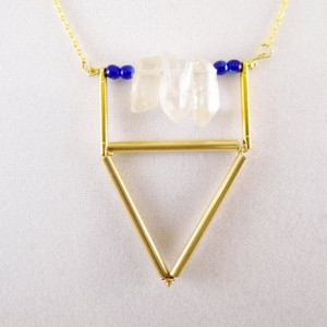 Geometric Triangle Gold Quartz Necklace