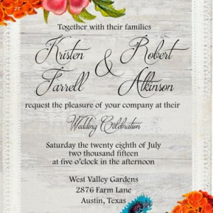 Custom Printed Floral and Lace Wedding Invitations-Fall Wedding Invitations