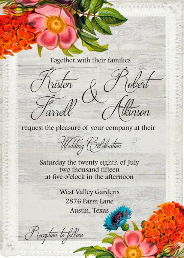 Custom Printed Floral and Lace Wedding InvitationsFall Wedding I – Custom Printed Wedding Invitations