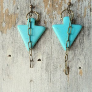 Boho Earrings, Turquoise Earrings, Arrow Dangle Earrings, Boho Jewelry, Hipster Earrings