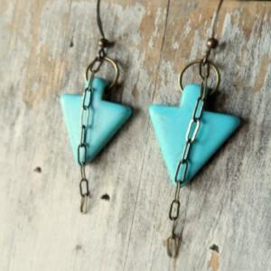 Boho Earrings, Turquoise Earrings, Arrow Dangle Earrings, Boho Jewelry, Hipster Earrings