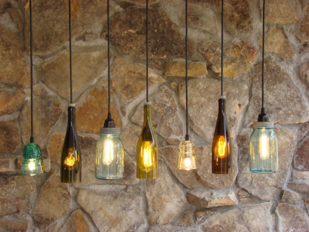 Recycled insulator, ball jar and wine bottle light