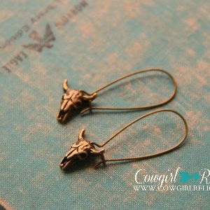 Brass Cow Skull Rustic Western Earrings