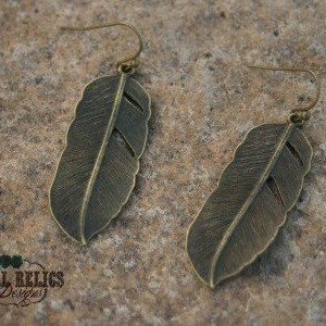 Brass Feather Rustic Western Earrings