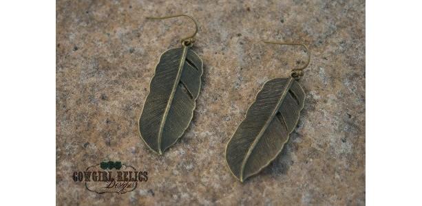 Brass Feather Rustic Western Earrings