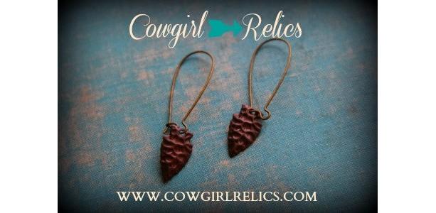 Antiqued Brass Arrowhead Rustic Western Earrings-Tribal, Boho