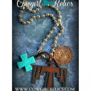 Rustic Western Charm Necklace-Brave, Thunderbird, Turquoise, Cross, Bold, Chunky