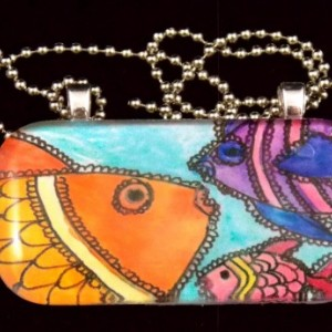 3 colorful fish, hand drawn and painted, glass pendant