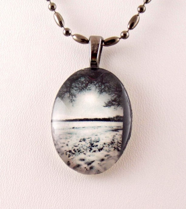 Professional, Brooklyn, winter scene, photo, glass pendant