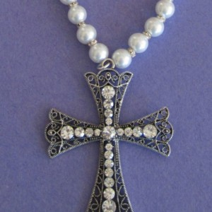 Queen for a day Large Rhinestone Cross Filigree Pendant/Necklace with White Glass Pearls & Rhinestone Rhondelles  by  LetaMarieDesigns