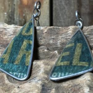 Sea Green Earrings, Text Earrings, Repurposed Materials, Word Earrings, Book Earrings, Drop Earrings, Stainless Steel