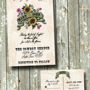 Rustic Country Sunflower Wedding Invitation Set
