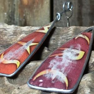 Red Surfer Earrings, Seaside Earrings, Beach Jewelry, Long Dangle Earrings, Fishhook Earrings, Stainless Steel Drop Earrings, Tribal Design