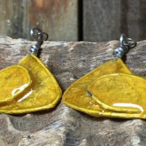 Yellow Abstract Earrings, Interesting Jewelry, Unique Pattern, Triangle Earrings, Stainless Steel, Repurposed Materials, Drop Earrings