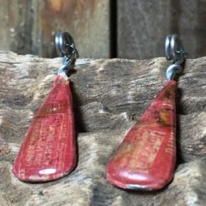 Vintage Red Earrings, Classic Look, Repurposed Materials, Design Earrings, Abstract Patterns, Drop Earrings, Fishhook Earrings