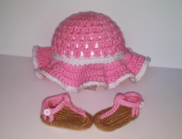 Crochet Sunhat And Sandals Baby Sandals Floppy Sunhat Sandals