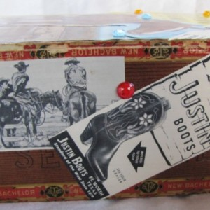 Decorated Rustic Western Horse upcycled vintage wood cigar Keepsake box. Jewelry box, trinket box, collage, country, quarter horse, ooak