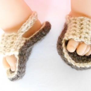 Crochet Baby Sandals - Crochet Baby Soccer Sandals - Crochet Flip Flops for Babies - Brown Baby Sandals -  Crochet Baby Shoes - Baby Gift