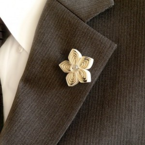 Ivory Lapel Pin for a Wedding