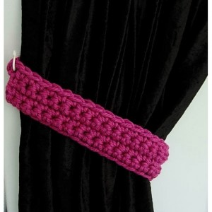 Curtain Tiebacks Set, One Pair Solid Dark Bright Pink Fuchsia Drapery Tie Backs Drapes Holders, Modern Crochet Knit..Ready to Ship in 3 Days