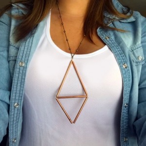 Geometric Triangle Diamond Brass Necklace