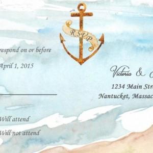 Custom Beach Wedding Invitations with RSVP - Destination Wedding Invitations - Watercolor Wedding invitations