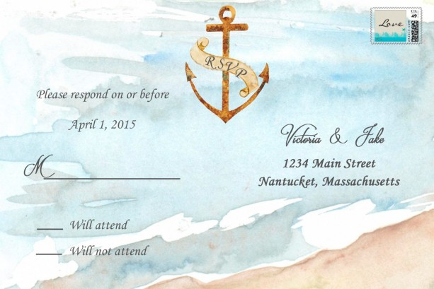custom beach wedding invitations with rsvp destination wedding invitations watercolor wedding invitations - Wedding Invitations With Rsvp
