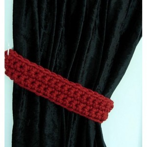 Curtain Tiebacks Set, Curtain Tie Backs, One Pair Solid Dark Spice Red, Simple Drapery Drapes Holders, Crochet Knit, Ready to Ship in 3 Days