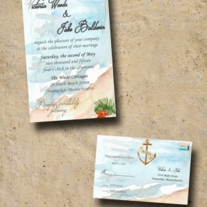 Custom Beach Wedding Invitations with RSVP - Destination Wedding Invitations - Watercolor Wedding invitations