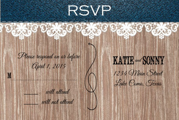 Denim Wedding Invitations: Custom Denim And Lace Country Wedding Invitations With