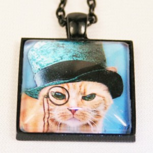 Yellow Tabby Steampunk Boho Cat Jewelry Pendant