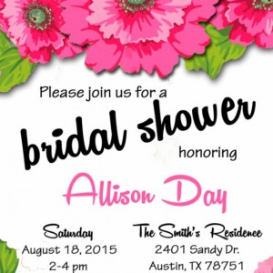 Personalized Pink Bridal Shower Invitation - Pink flowers - engagement party