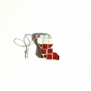 Christmas Ornament Xmas Stocking Mosaic Art Piece