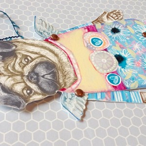 Pug Angel Art Paper Doll - Personalized option