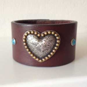 Leather Cuff with Large Gold/Silver Heart and Turquoise Studs