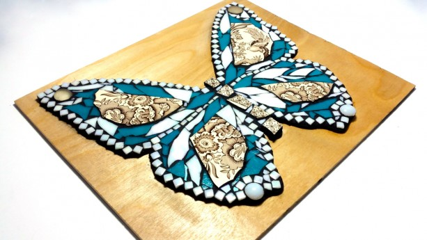 Butterfly Mosaic Art. China and Stained Glass Mixed Media Nature ...