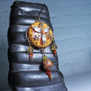 Large orange vintaj brass leaf crystal pendant, vintaj brass and epoxy resin jewelry