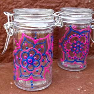 Pink and Blue Henna Style Mandala Jars Set of 2