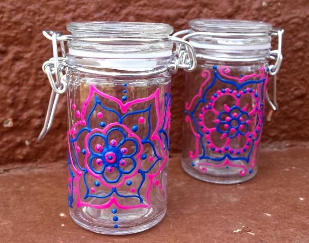 Pink and Blue Henna Style Mandala Jars Set of 2