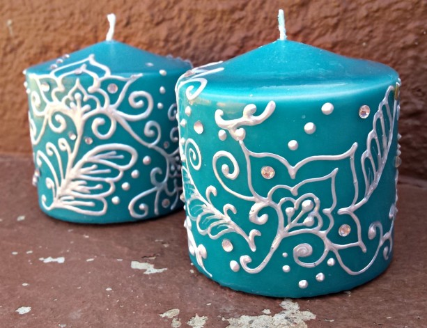 Teal henna style candle set