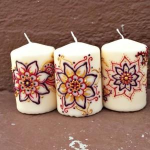 3 Piece Henna Style Mandala Flower Candle Set