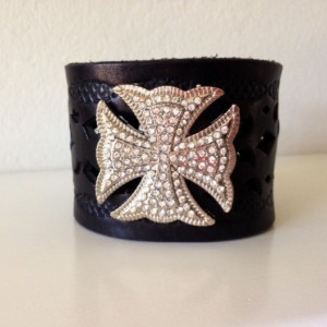 Wide Leather Cuff with Crystal Cross