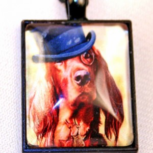 Irish Setter Steampunk Pendant Necklace