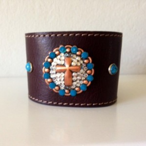 Wide Brown Leather Cuff with Crystal Cross