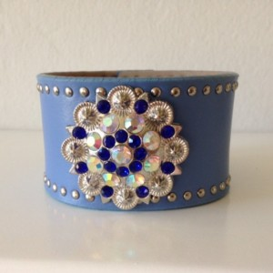 Blue Leather Cuff with Round Crystal Concho