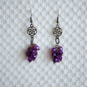 Dangle Earrings with Purple cluster beads and bronze flower charm