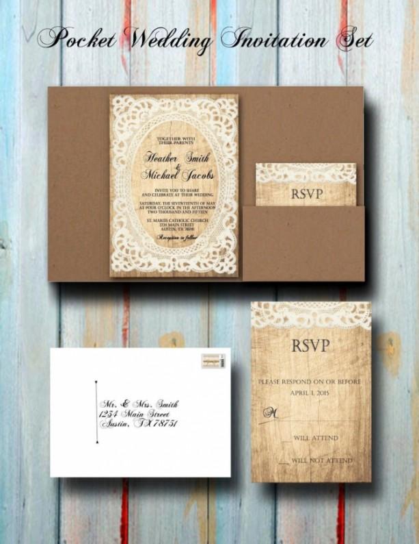 custom vintage rustic lace pocket wedding invitation set pocket